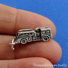 .925 Sterling Silver FIRE ENGINE TRUCK CHARM Firefighter Fireman PENDANT