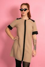 Vintage style beige & black 60s shift dress size 14 Mod Scooter Northern Soul