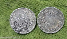#D257. TWO GERMAN 1/2 MARK 1905&06   SILVER  COINS MADE INTO BUTTONS