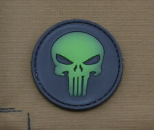 """PVC / Rubber Glow in the Dark Patch """"Round Punisher"""" with VELCRO® brand hook"""
