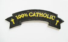 """Set of 12 """"100% Catholic"""" Religious Patches for Jackets, Caps & Motorcycle Gear"""