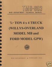 TM9 803 ~ MB / GPW WWII Jeep Manual ~ Reprnt