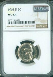 1968-D JEFFERSON NICKEL PROOF 5¢ NGC MS-66 MS66 QUALITY✔️