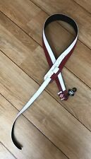 Leather Graft Two Tone Leather Guitar Strap Red And White