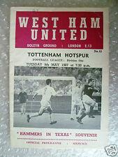 1967 WEST HAM UNITED v TOTTENHAM HOTSPUR, 9th May (Hammrs in Texas Souvenir)