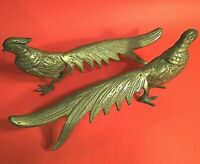 PAIR OF BRASS PHEASANTS MALE AND FEMALE VINTAGE LARGE 12 INCHES