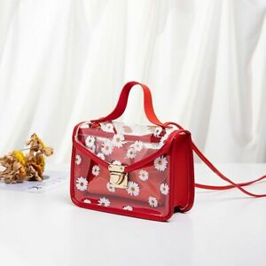 Fashion Women PVC Material Transparent Daisy Pattern Shoulder Bag Buckle Closure