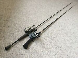 2 Old Bait Casting Outfits Rods/Reels Pfleuger & Quantum See Pics NR!