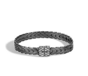 $1,095 NEW John Hardy Modern Chain Black Rhodium Bracelet Diamond Women Medium