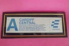 48 x 18 cm framed & Glazed CARRIAGE Notice CARDIFF CENTRAL - Newark PM 132A