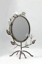 Spiegel auf Metall-Fuß mit Vögel 23 x 14 x 32 cm, grau,rund Vögel Blätter