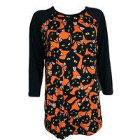 LuLaRoe Randy Halloween Black Cats Orange 3/4 Sleeve T-Shirt Tee Womens Large