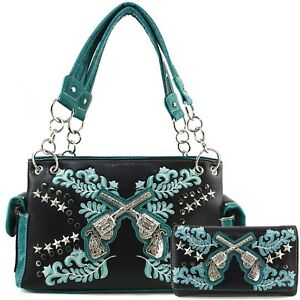 Justin West Dual Cross Gun Western Floral Embroidery Conceal Carry Handbag Purse