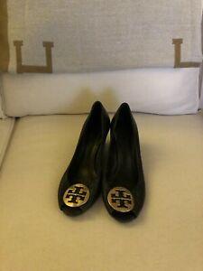 TORY BURCH black peep toe heel size 9