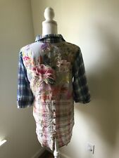 soft surroundings Top Women's Sz S Plaid Button Up Embroidered Back High Low