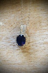 NEW 3.18cts Genuine Blue Sapphire & White Topaz Homage Sterling Silver Necklace