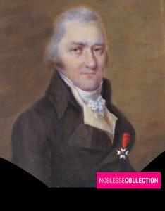 """ANTIQUE 1830s FRENCH MINIATURE PAINTED PORTRAIT """"Man with Saint-Louis Cross"""""""