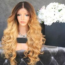 Wicca Brazilian human hair Ombre blonde lace Front wigs Dark root Loose wave L..