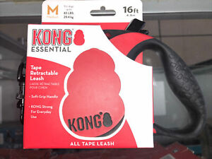 New Kong Comfort Retractable Tape Leash- 16' M Red
