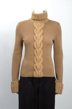 CELINE Camel Brown Cashmere Cable Knit Extra Long Sleeve Turtleneck Sweater M
