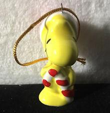 Ceramic Peanuts Woodstock Christmas Ornament Joy 1981 holding candy cane