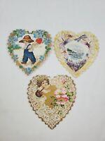 Lot of 3 Vintage Antique Die-Cut Valentine's Day Cards Cherub Boy Hearts Floral