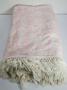 Vtg Bates Queen Elizabeth Bedspread Pink White Floral Cotton Sz Double 98×112