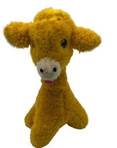 "VTG 1976 Animal Fair plush giraffe rattle bell 12"" yellow stuffed animal 1970s"