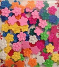 Mini Multicolor Double-Sided Flower Barrettes (Snaps) for braids twists cornrows