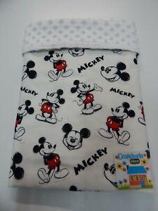 Mickey Mouse Blanket Bassinet Moses Basket Pram 80cmx 60cm Minkee Dot Back