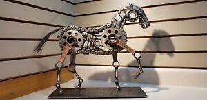 Hand Made Prize Winning Steampunk Metal Horse Stallion Art Sculpture