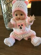 "VTG Signed Tiny Tears Danbury Mint in White and Pink Handmade Outfit (11"" Tall)"