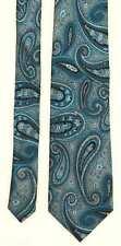 Landisun Mens Turquoise Paisley 100% Silk Wide Fit Tie