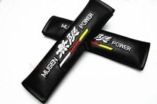 2Pcs Car Mugen Power Black Leather Embroidery Seat Belt Cushion Shoulder Pads