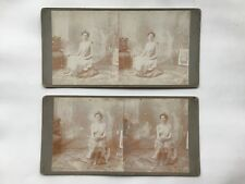 2 Stereoview Photo Stereo Cards Nude Erotic Woman Breasts 1890s Sexy Boudoir