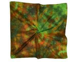 Green Brown Jelly Fish Design Hand Painted Small Square Cotton Scarf (K224)