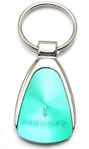 Genuine Lincoln Aqua Green Logo Metal Chrome Tear Drop Key Chain Ring Fob
