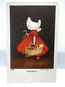 1907 POSTCARD SATURDAY, SUN BONNET BABY WITH BASKET OF GROCERIES