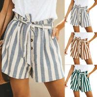 Women Summer Pants Striped Loose Shorts Belt Beach High Waist Short Trousers