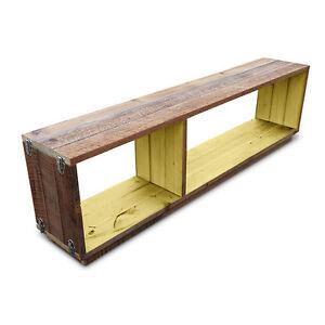 Rustic Wooden Modular Bookshelf Bookcase Floating Display Shelving Unit Yellow
