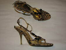 9.5 B BCBGeneration Ladies Brown Leopard Print Women shoe Gold High Heel Black