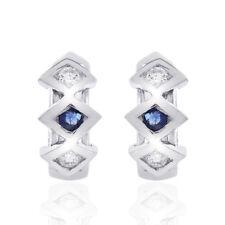 0.15 Carat Diamond & Sapphire Huggy Earrings 14K White Gold