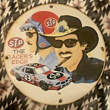 "New ListingVintage Porcelain Stp Richard Petty Gas And Oil Pump Plate Race Car 11.75"""