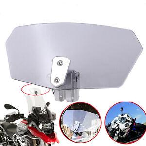 Motorcycle Clip On Windshield Adjustable Extension Spoiler Wind Deflector Smoke