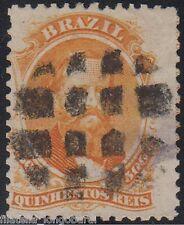 BRASIL stamps 1866 Emperor Pedro II 500 reis orange, used YT.29 - F363