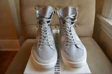 BIKKEMBERGS COOL GREY WHITE PERFORATED LEATHER HIGH TOP SNEAKERS SHOES 43 10