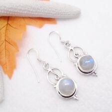 Mondstein weiß blau rund Design Ohrringe Ohrhänger Hänger 925 Sterling Silber