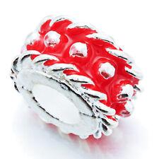 5Pcs Silver Red Enamel Spacer Stopper Beads Lot Fit European Bracelet Wholesale