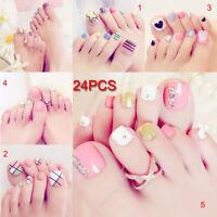 24 Pcs 3D Toe Fake Nails Glue Foot Full Toes Nail Art Tips Lady Girl False Nails