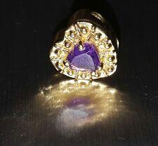 14kt Yellow Gold KLJCI Klein Slide Bracelet Heart Charm Amethyst Purple Stone